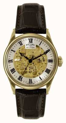 Rotary Mens Mécanique, Skeleton, Brown Leather GS02941/03