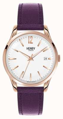 Henry London Hampstead Purple Leather Strap White Dial HL39-S-0082