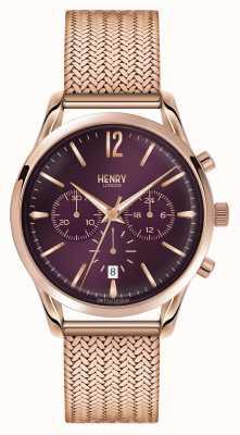 Henry London Hampstead Rose Gold Plated Mesh Chronograph HL39-CM-0088