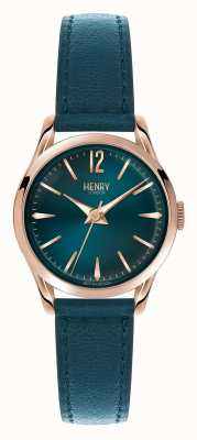 Henry London Stratford Teal Blue Leather Strap and Dial HL25-S-0128