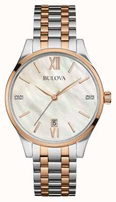 Bulova Ladies Two Tone, Rose Gold, Pearl, Diamond 98S150