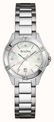 Bulova Womens Stainless Steel Diamond Set Silver Dia 96W205
