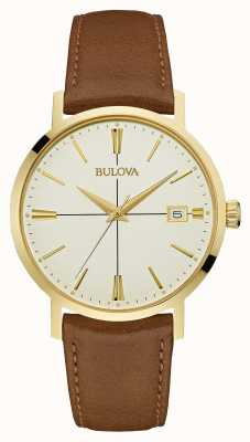 Bulova Mens Aerojet Brown Leather Strap Cream Dial 97B151
