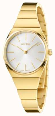 Calvin Klein Womens Supreme Gold PVD Plated Silver Dial K6C23546