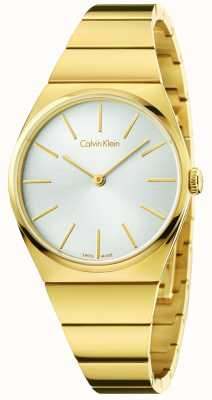 Calvin Klein Womens Supreme Gold PVD Plated Silver Dial K6C2X546