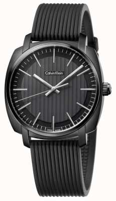 Calvin Klein Mens Highline Black Rubber Strap Black Dial K5M314D1