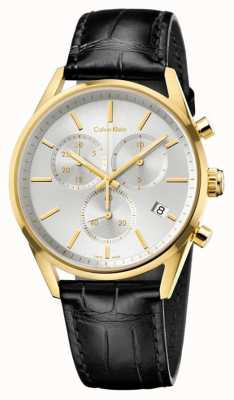 Calvin Klein Mens Formality Black Leather Strap Chrono K4M275C6