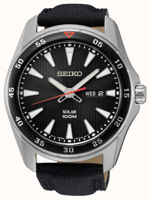 Seiko Mens Solar Black Canvas Strap SNE393P2