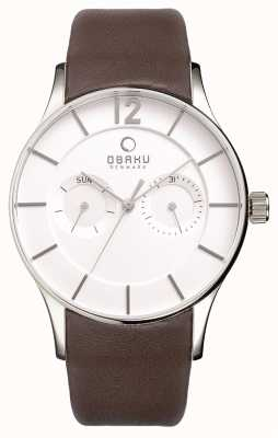 Obaku Mens Brown Leather Strap White Dial V175GMCIRN