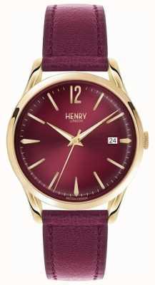 Henry London Unisex Holborn Burgundy Leather Burgundy Dial HL39-S-0066