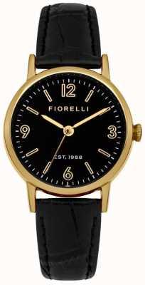 Fiorelli Womens Black Leather Strap Black Dial FO015BG