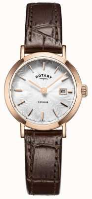 Rotary Womens Brown Leather Strap Silver Dial LS05304/02