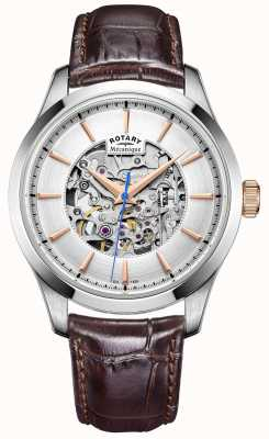 Rotary Mens Silver Dial Brown Leather Strap GS05032/06