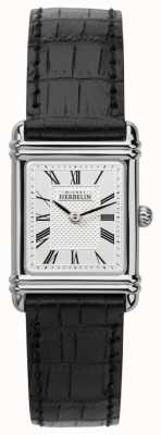 Michel Herbelin Womens Esprit Art Deco Black Leather Strap 17478/08