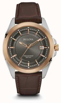 Bulova Mens Brown Strap Grey Dial Rose Gold Case 98B267