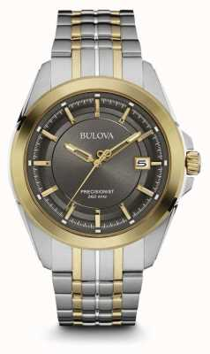 Bulova Mens Two Tone Strap Grey Dial 98B273