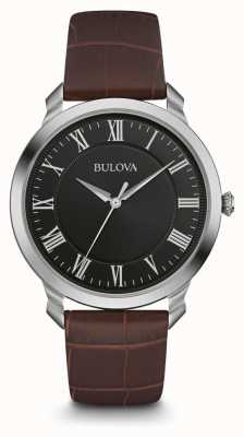 Bulova Mens Black Dial Brown Leather Strap 96A184