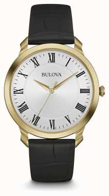 Bulova Mens Black Leather Strap White Dial 97A123