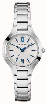 Bulova Womens Silver Strap White Dial 96L215