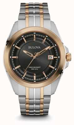 Bulova Mens Two Tone Strap Black Dial 98B268