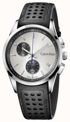 Calvin Klein Mens Black Strap White Dial K5A371C6