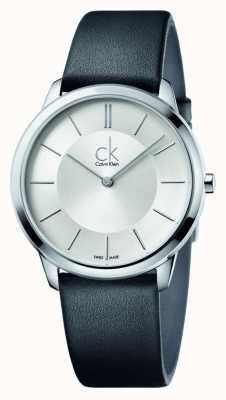 Calvin Klein Mens Minimal Black Leather Strap K3M211C6