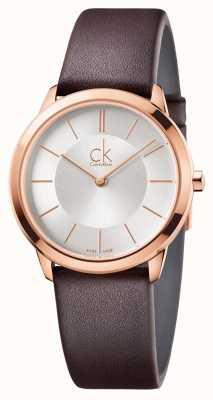 Calvin Klein Mens Minimal Silver Dial Rose Gold Case K3M226G6