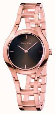 Calvin Klein Womens Class Watch Rose Gold Plated Brown Dia K6R2362K