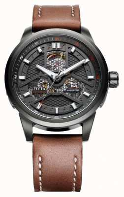 FIYTA Mens Brown Leather Strap Black Case WGA1008.BBR