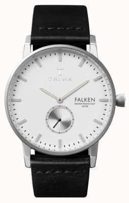 Triwa Mens Falken Black Leather Strap White Dial FAST103-CL010112