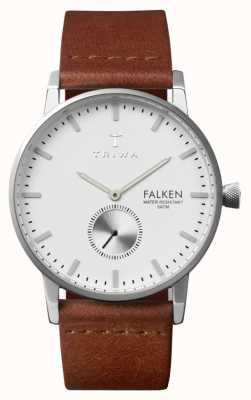Triwa Mens Falken Brown Leather Strap White Dial FAST103-CL010212