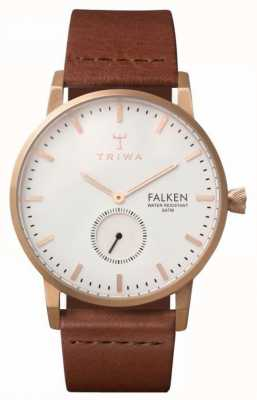 Triwa Unisex Falken Brown Leather Strap White Dial EX DISPLAY FAST101-CL010214EX-DISPLAY