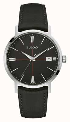 Bulova Mens Black Dial Black Leather Strap 96B243