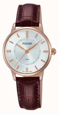 Pulsar Womens Silver Patterned Dial Brown Strap PH8180X1
