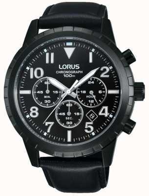 Lorus Mens Black Chronograph Black Leather Strap RT365FX9