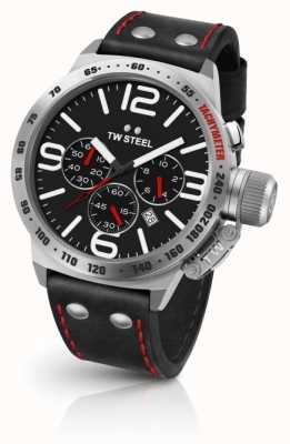 TW Steel Mens Canteen Black Dial Black Leather Strap CS10
