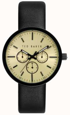 Ted Baker Mens 42mm Case With Gold Dial Black Leather TE10026555