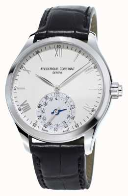 Frederique Constant Horological Smartwatch White Dial Black Leather Strap FC-285S5B6