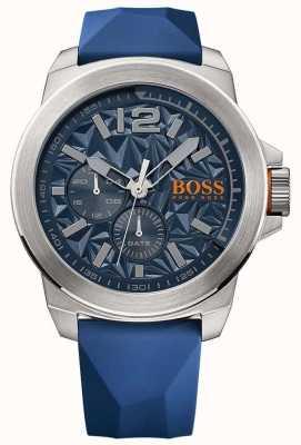 Hugo Boss Orange Mens Blue Rubber Strap Blue Dial 1513348