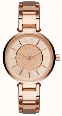 Armani Exchange Womens Rose Gold PVD Plated Rose Dial AX5317