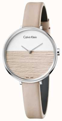 Calvin Klein Womens Rise Beige Leather Strap Beige Dial K7A231XH