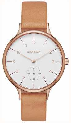 Skagen Womens Anita Brown Leather Strap White Dial SKW2405