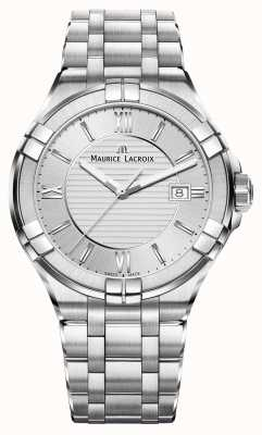 Maurice Lacroix Mens Aikon Stainless Steel Bracelet Silver Dial AI1008-SS002-130-1
