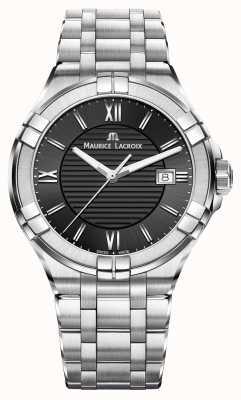 Maurice Lacroix Mens Aikon Stainless Steel Bracelet Black Dial AI1008-SS002-330-1