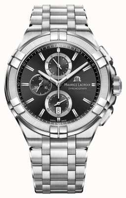 Maurice Lacroix Mens Aikon Chronograph Stainless Steel Bracelet Black Dial AI1018-SS002-330-1