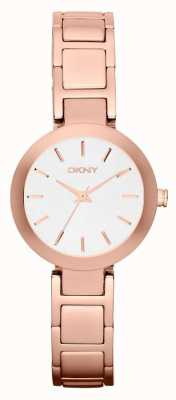 DKNY Womans White Dial Rose Gold Strap NY2400
