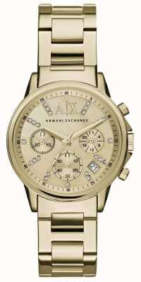 Armani Exchange Womans Gold Chronograph Dial Gold Metal Strap AX4327