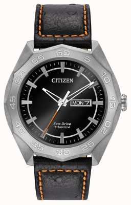 Citizen Mens Titanium Case Black Leather Strap Black Dial AW0060-03E