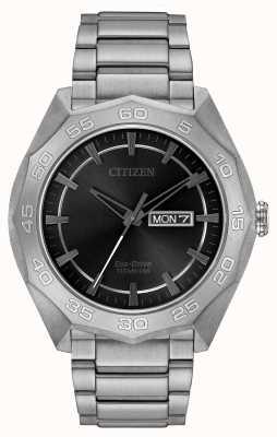 Citizen Mens Titanium Bracelet Black Dial AW0060-54H