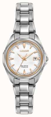 Citizen Womens Titanium Bracelet White Dial EW2410-54A